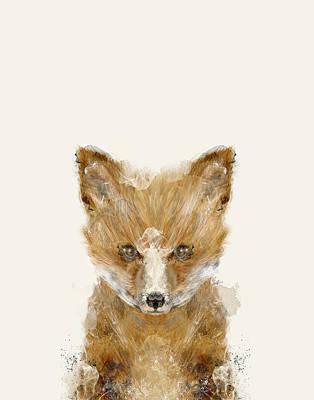 Fox Digital Art - Little Fox Cub by Bri B