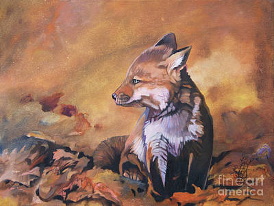Painting - Little Fox by J W Baker