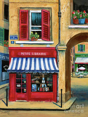 Paris Street Scene Painting - Little French Book Store by Marilyn Dunlap