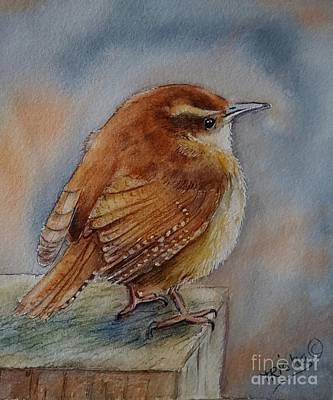 Wren Painting - Little Friend by Patricia Pushaw