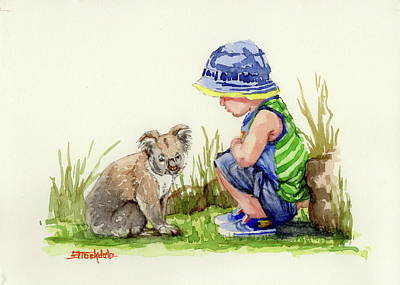 Painting - Little Friends Watercolor by Margaret Stockdale