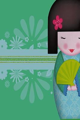 Little Geisha Blue Art Print by Jannina Ortiz