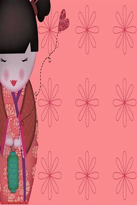 Little Geisha Pink Art Print by Jannina Ortiz