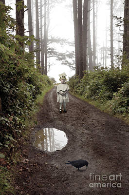 Photograph - Little Girl And Crow On Wooded Path by Jill Battaglia
