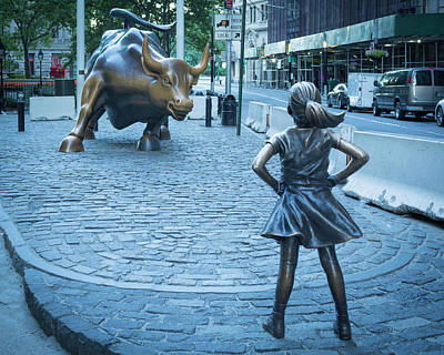 Photograph - Little Girl And The Big Bad Bull by Kenneth Cole