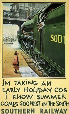 Vintage Locomotive Painting - Little Girl Boarding A Train - Vintage Steam Locomotive -  Advertising Poster For Southern Railway by Studio Grafiikka
