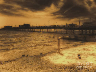 Digital Art - Little Girl By The Pier by Leigh Kemp