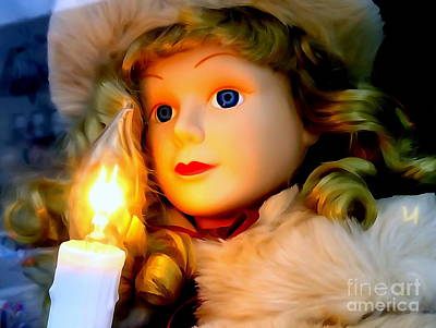 Digital Art - Little Girl Caroler With Candle by Ed Weidman