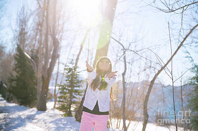 Photograph - Little Girl Catching Snowflakes by Anna Om