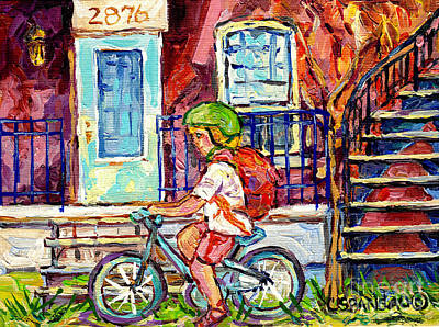 Little Girl Cyclist Verdun Montreal Doorway Balcony Scene Neighborhood Canadian Painting C Spandau   Original