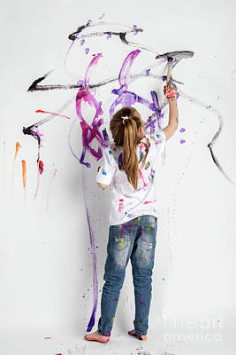 Photograph - Little Girl Decorating A White Wall With Paint by Michal Bednarek