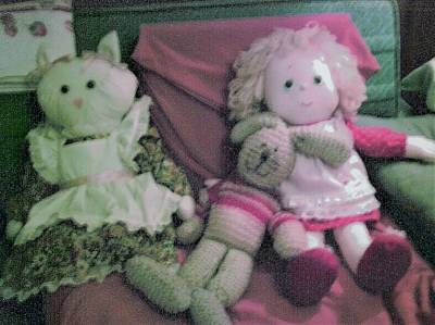 Photograph - Little Girl Doll, Rabbit And Miss Kitty by Denise Fulmer