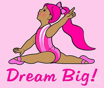 Gymnast Digital Art - Little Girl Gymnast Dream Big by A