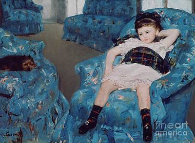 Little Girl In A Blue Armchair Art Print