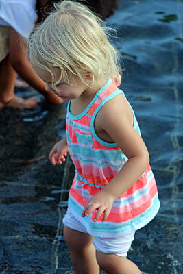 Photograph - Little Girl Playing In Water by Cora Wandel