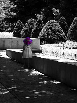 Little Girl In Magenta Hat Black And White Selective Color Art Print