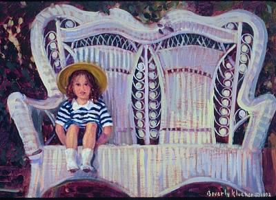 Little Girl In Straw Hat Art Print by Beverly Klucher