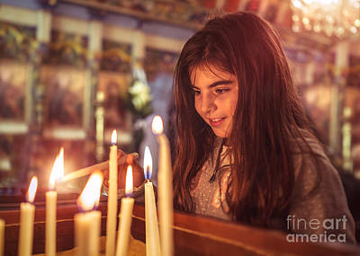 Photograph - Little Girl In The Church On Easter by Anna Om