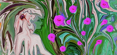 Digital Art - Little Girl In The Garden by Sherri's - Of Palm Springs