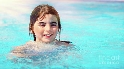 Photograph - Little Girl In The Pool by Anna Om