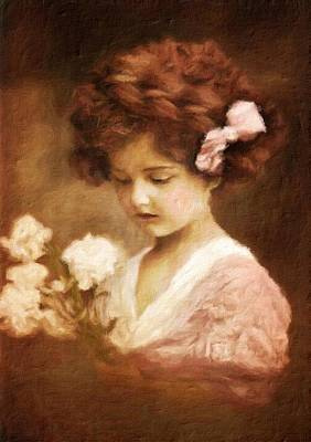 Vintage Beauty Painting - Little Girl by John Springfield