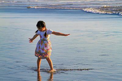 Photograph - Little Girl Loves Beach by Bonnie Follett