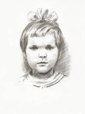 Drawing - Little Girl by Masha Batkova