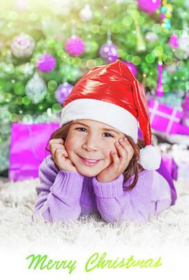 Photograph - Little Girl Near Christmas Tree by Anna Om