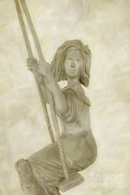 Digital Art - Little Girl On Swing by Randy Steele