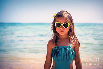Photograph - Little Girl On The Beach by Anna Om