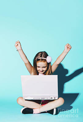 Photograph - Little Girl Playing On A Pink Laptop, Raising Her Hands Up by Michal Bednarek