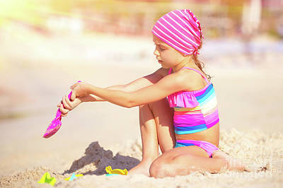 Photograph - Little Girl Playing On The Beach by Anna Om