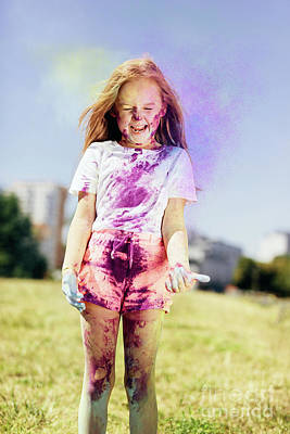Photograph - Little Girl Playing With Holi Powder Outdoors by Michal Bednarek