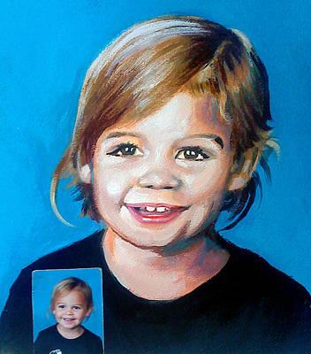 Painting - Little Girl Portrait by Robert Korhonen