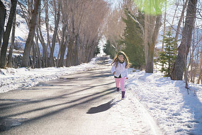 Photograph - Little Girl Running In The Park by Anna Om