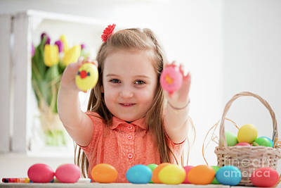 Photograph - Little Girl Showing Her Hand-painted Colorful Eggs. by Michal Bednarek