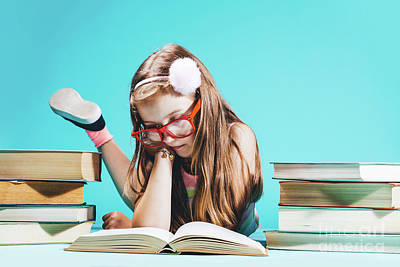 Photograph - Little Girl Sitting By The Books, Studying. by Michal Bednarek