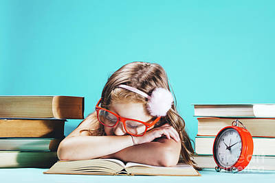 Photograph - Little Girl Sleeping On An Open Book In Funny Red Glasses by Michal Bednarek