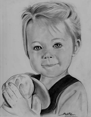 Drawing - Little Girl W/ Rabbit by Barb Baker