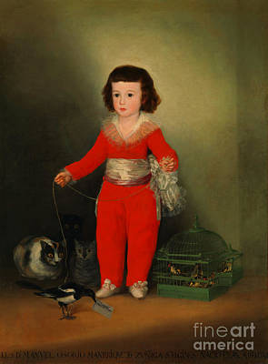 Painting - Little Girl With Bird And Cats by Peter Gumaer Ogden