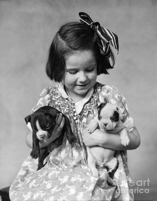 Pet Care Photograph - Little Girl With Boston Terrier Pups by H. Armstrong Roberts/ClassicStock