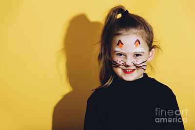 Photograph - Little Girl With Cat Makeup On Her Face. by Michal Bednarek
