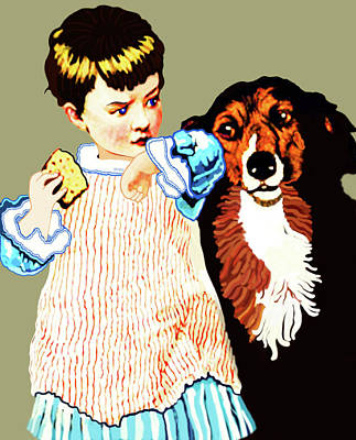 Art Print featuring the painting Little Girl With Hungry Mutt by Marian Cates