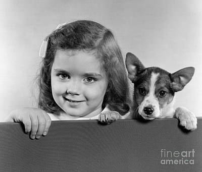 Best Friend Photograph - Little Girl With Small Dog, C. 1940s-50s by H. Armstrong Roberts/ClassicStock