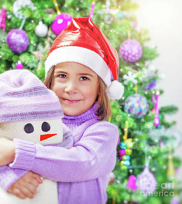 Photograph - Little Girl With Snowman Toy by Anna Om