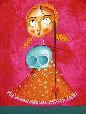 Malerei Painting - Little Girl With Toy Skull - Acrylic Painting On Canvas by Tiberiu Soos