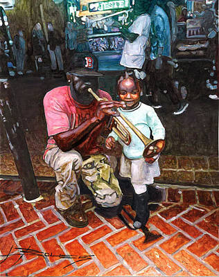 Garden District Painting - Little Girl With Trumpet Player On Bourbon by John Boles