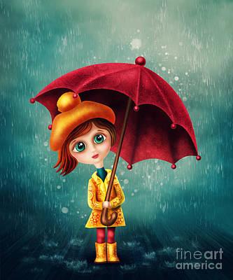 Little Girl With Umbrella Art Print