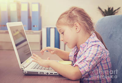 Photograph - Little Girl Working On The Laptop by Anna Om