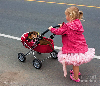 Photograph - Little Girls And Puppy Tails by Barbara McMahon